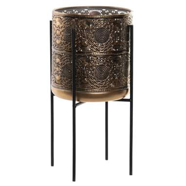 Dryp distress golden metal flowerpot stand