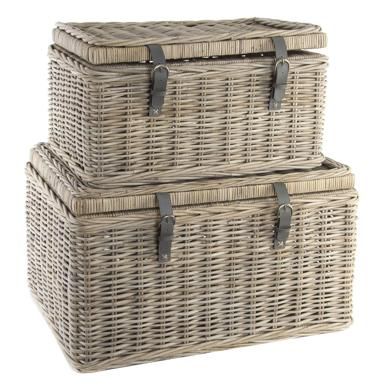 Doste set 2 distressed rattan baskets