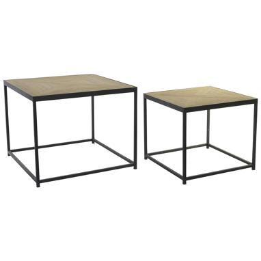 Niet set 2 black metal auxiliares tables