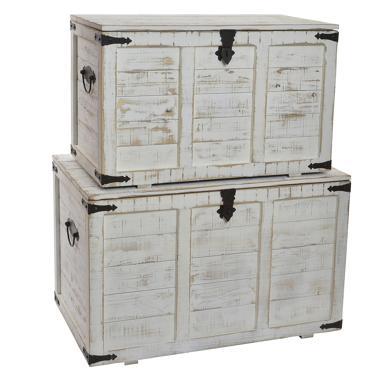 Shak set 3 distressed wood trunk