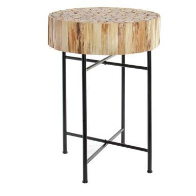 Gare table d'appoint tronc pied métal
