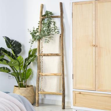 Beras natural oak ladder towel rail