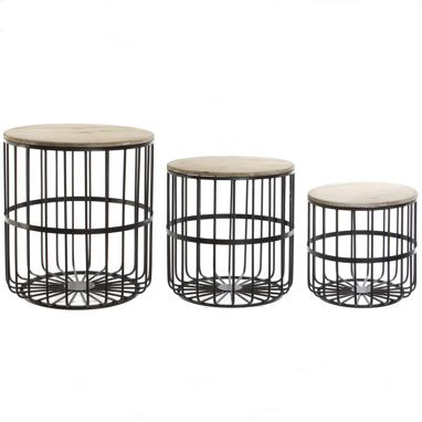Jasen set 3 metal madera auxiliar tables