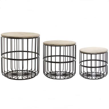 Jasen set 3 tables d'appoint métal bois