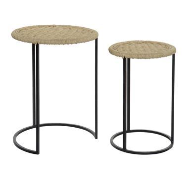 Klua set 2 tavolini corda-metallo