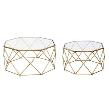Herb set 2 golden metal crystal coffee table