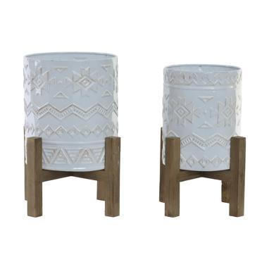 Padi kit 2 vasos metal madeira africano