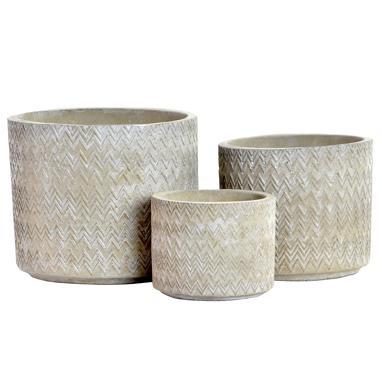 Menk set 3 vasi piantae cemento zigzag