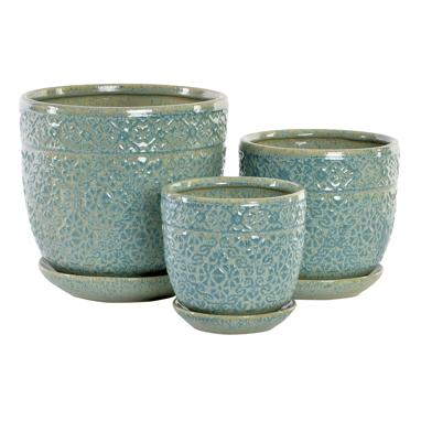 Juli set 3 vaso piante gres brillante