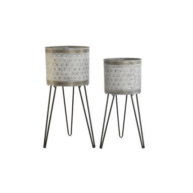 Carle set 2 vasi piante metallo
