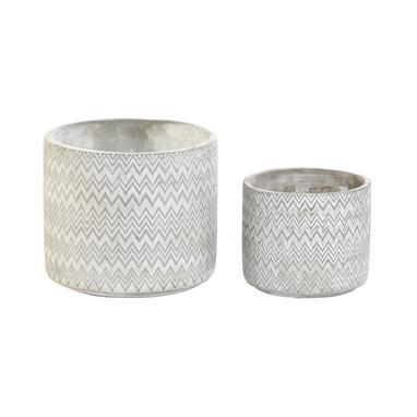 Kuca set 2 cement zigzag flowerpot stand