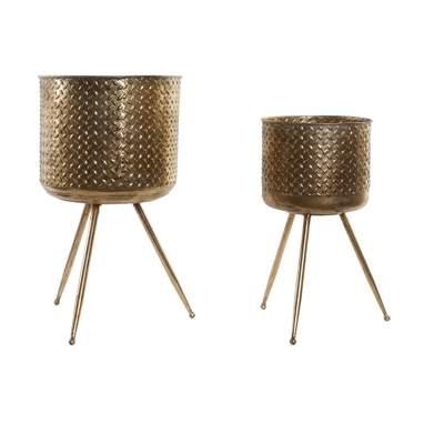 Kels macetero set 2 metal 33x33x58 4 envejecido dorado