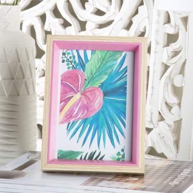 Llune porta-retratos madeira rosa pastel 13x18