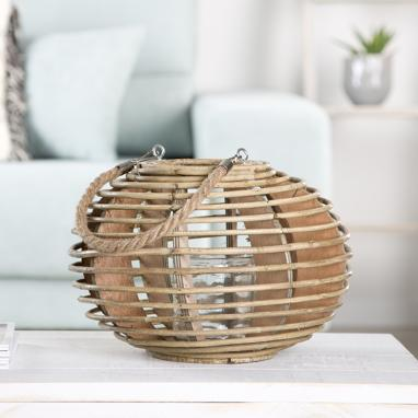 Donn natural wicker candleholder