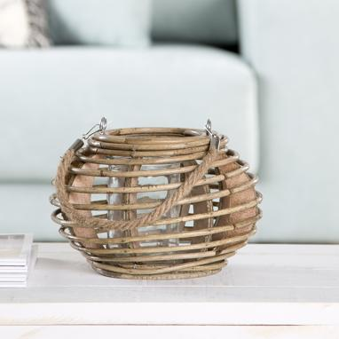 Linn natural wicker candleholder
