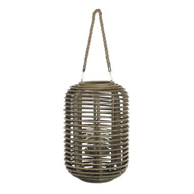 Defa wood wicker candleholder 27x27x42