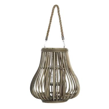 Verd natural wicker candle holder