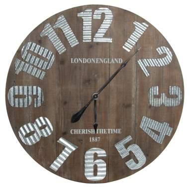 Kloc relógio parede madeira metal d80