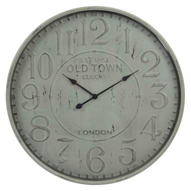 Mikej beige antique-finish metal glass wall clock