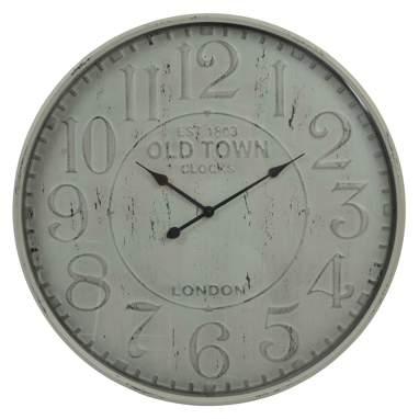 Mikej relógio parede metal vidro envelhecido bege