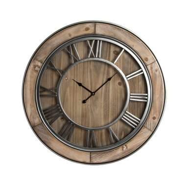 Leco reloj pared madera 72x7 natural