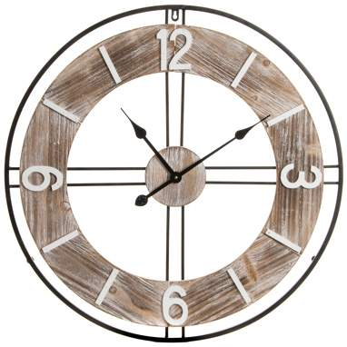 Deret metal wood wall clock