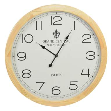 Nors natural wooden glass wall clock