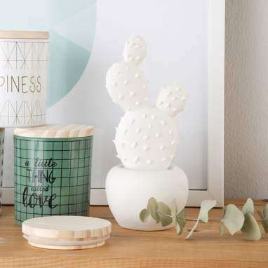 Diche figura porcelana 9x20,5 cactus blanco