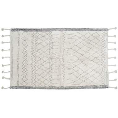 Ruty white rhombus cotton rug