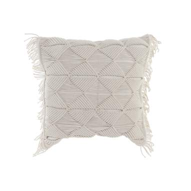 Toby beige cotton macrame cushion
