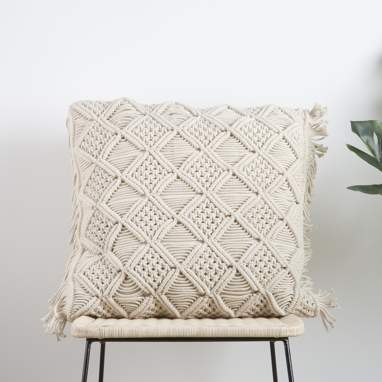 Teby beige cotton macrame cushion