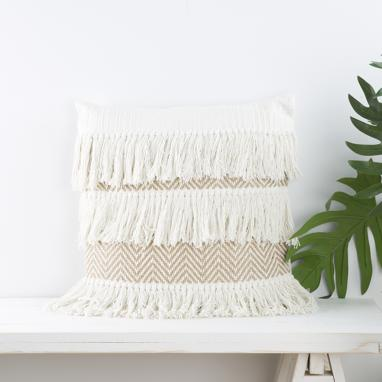 Birs brown fringes cotton jute cushion