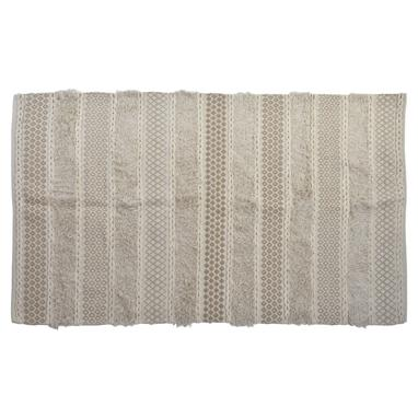 Adel white cotton fringe rug