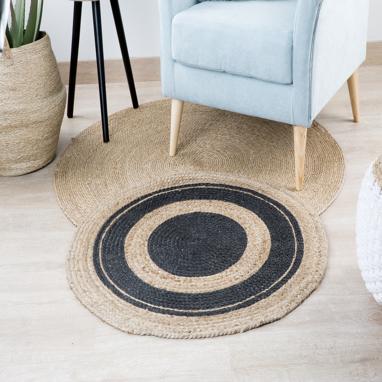 Zaos alfombra jute 90x90 natural negro