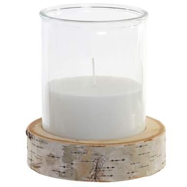Lome white crystal wood candle