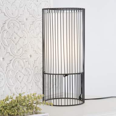 Candeeiro de mesa preto-branco metal/