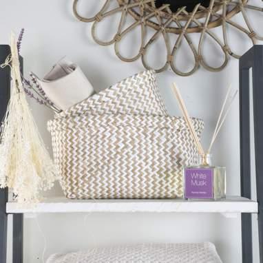S/2 plait white-natural baskets