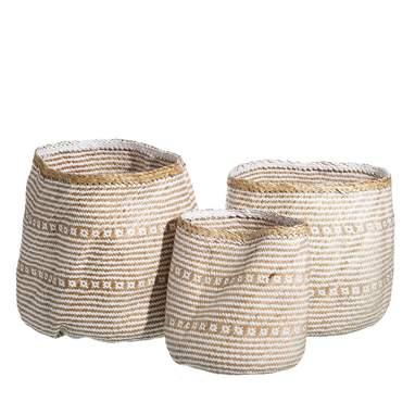 S/3 cestos trenzado blanco- natural