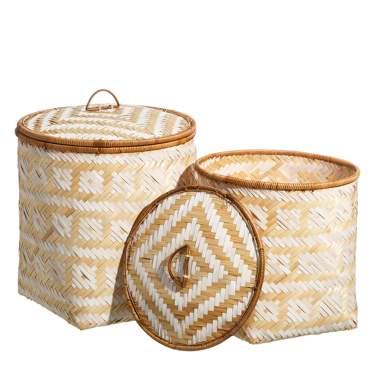 S/2 cestos trenzado natural- crema junco