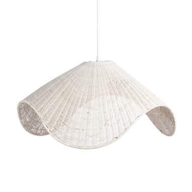 Lampada da soffitto  panna metallo rattane
