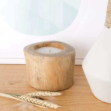 Polse natural wooden candle holder