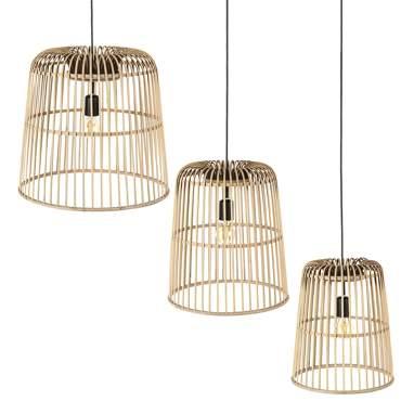 Queles kit 3 candeeiro tecto natural bambu