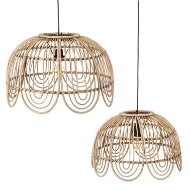 Wost natural rattan set 2 lamps