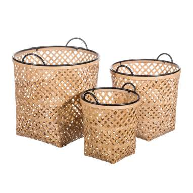 Kalisa metallic-bamboo natural set of 3 basquets