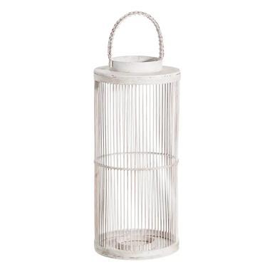 Naon white bamboo candleholder lantern