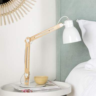 Colse lampe table naturel-blanc