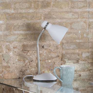 Kepa white metal industrial table lamp