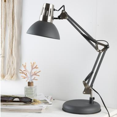 Lámpara mesa gris metal indust rial