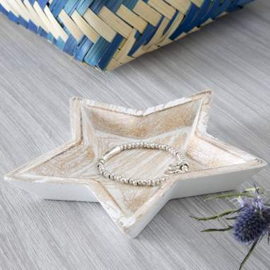 Bandeja estrela branco desgastado dm 16,50