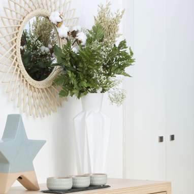 Diart jarrón blanco cerámica decoración 16,50 x 16,50 x 40 cm